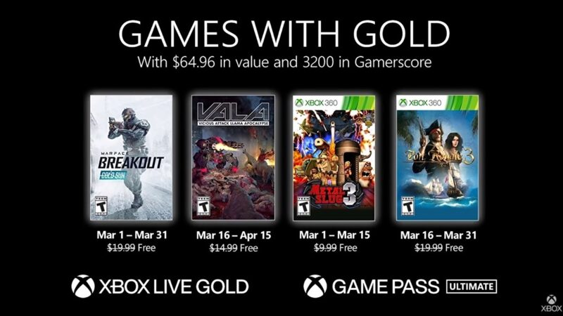 Microsoft announces March 2021 Xbox Games with Gold titles